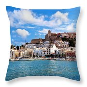Panorama Of Ibiza Spain Throw Pillow