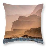 Panoramic Of Molokais North Shore Sea Throw Pillow