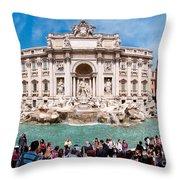 Panoramic View Of Fontana Di Trevi In Rome Throw Pillow