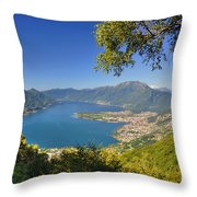 Panoramic View Over An Alpine Lake Throw Pillow