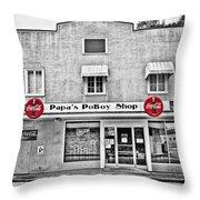 Papa's Poboy Shop Throw Pillow