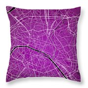 Paris Street Map - Paris France Road Map Art On Colored Backgrou Throw Pillow