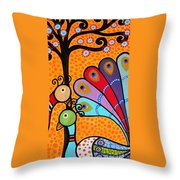 2 Peacocks And Tree Throw Pillow