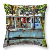 Pelican And Fishing Boat Throw Pillow