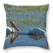 Pelicans In Hayden Valley Throw Pillow