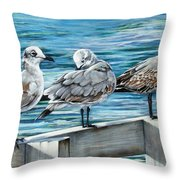 Pier Gulls Throw Pillow