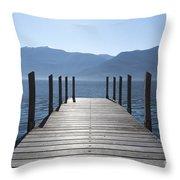Pier On An Alpine Lake Throw Pillow