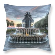 Majestic Sunset In Waterfront Park Throw Pillow