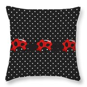 Polka Dot Lady Bugs Throw Pillow
