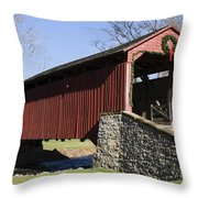 Poole Forge Covered Bridge Throw Pillow