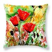 Poppy Lawn Throw Pillow