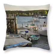 Port Clyde Maine Boats And Harbor Throw Pillow