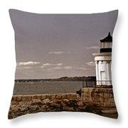 Portland Breakwater Lighthouse Throw Pillow