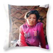 Portrait Of Young Kyrgyz Girl Inside A Yurt China Throw Pillow
