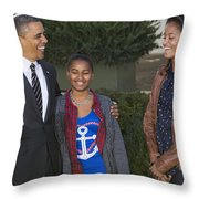 President Obama And Daughters Throw Pillow