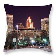 Providence Rhode Island Skyline At Night Throw Pillow