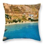 Psili Ammos Beach In Serifos Island Throw Pillow