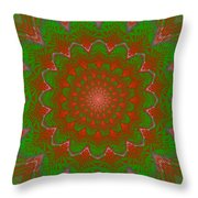 Psychedelic Spiral Vortex Green And Red Fractal Flame Throw Pillow