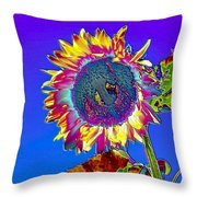 Psychedelic Sunflower Throw Pillow