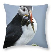 Puffin With Fish Throw Pillow