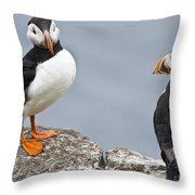 Puffins Throw Pillow