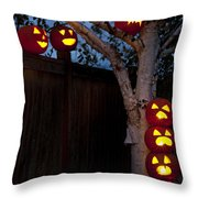 Pumpkin Escape Over Fence Throw Pillow
