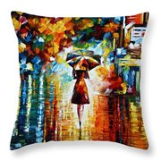Rain Princess - Palette Knife Landscape Oil Painting On Canvas By Leonid Afremov Throw Pillow