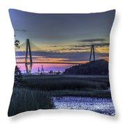 Charleston Bridge Low Tide Throw Pillow