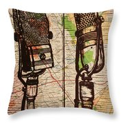 2 Rca Microphones Throw Pillow by William Cauthern