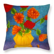 Red And Orange Flowers Throw Pillow