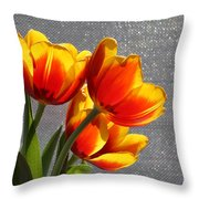 Red And Yellow Tulip's In A Window Throw Pillow by Robert D  Brozek