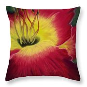 Red Day Lily Throw Pillow