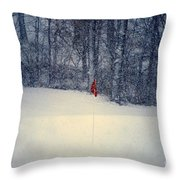 Red Flag On The Snow Covered Golf Course Throw Pillow
