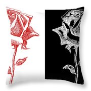 2 Red Rose Drawing Combo Throw Pillow