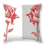 2 Red Roses Poster Throw Pillow