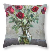 Red Roses Throw Pillow by Ylli Haruni
