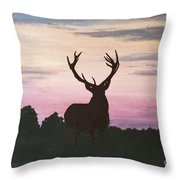 Red Stag At Dusk Throw Pillow