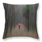 Red Umbrella In The Forest Throw Pillow
