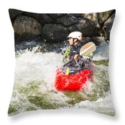Red Whitewater Kayak Throw Pillow
