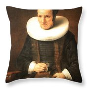 Rembrandt's An Old Lady With A Book Throw Pillow
