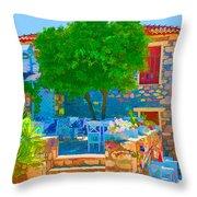 Colourful Restaurant Throw Pillow