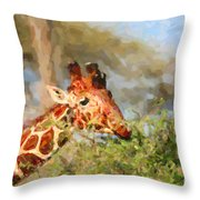 Reticulated Giraffe Kenya Throw Pillow