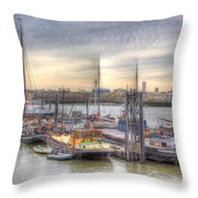 River Thames Boat Community Throw Pillow