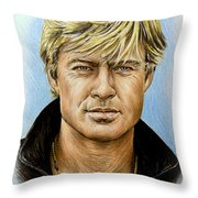 Robert Redford Throw Pillow by Andrew Read