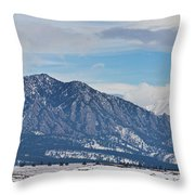 Rocky Mountains Flatirons And Longs Peak Panorama Boulder Throw Pillow