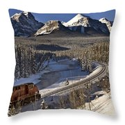 Rocky Mountains In Winter Throw Pillow