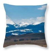 Rocky Mountains Road Throw Pillow