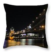 Roebling Suspension Bridge 9939 Throw Pillow
