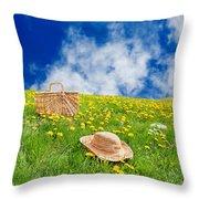 Rolling Dandelion Meadow Throw Pillow