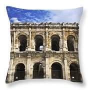 Roman Arena In Nimes France Throw Pillow